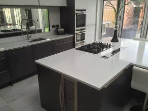 Beautiful black and white kitchen wine cooler counter top