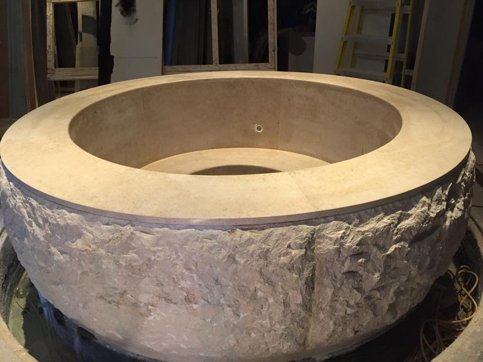 Bespoke stonemasonary plunge pool