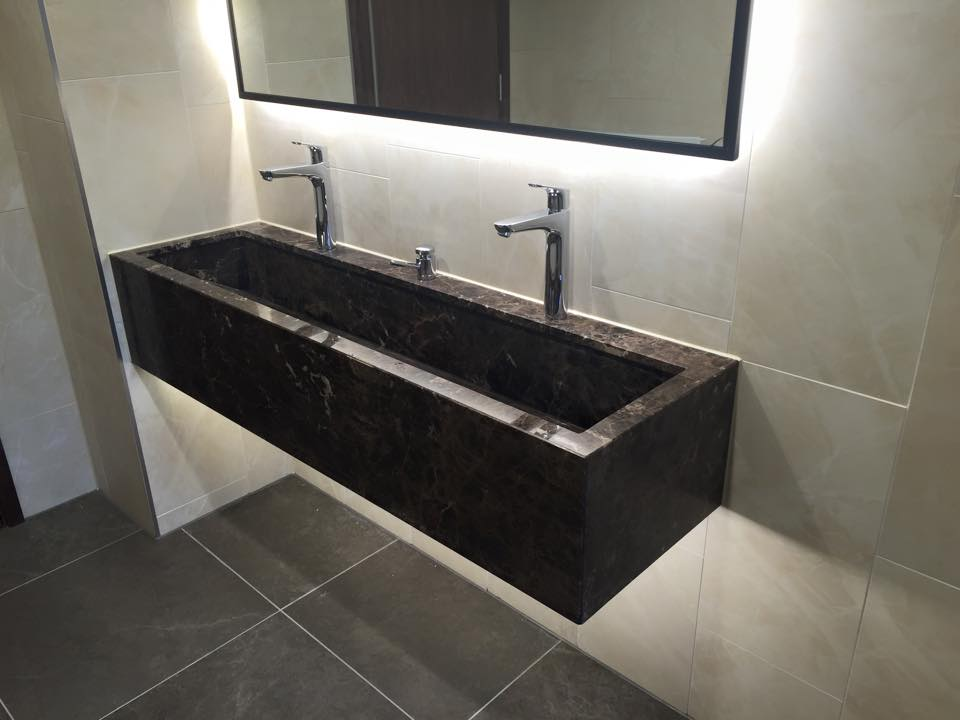 Double dark bathroom sink