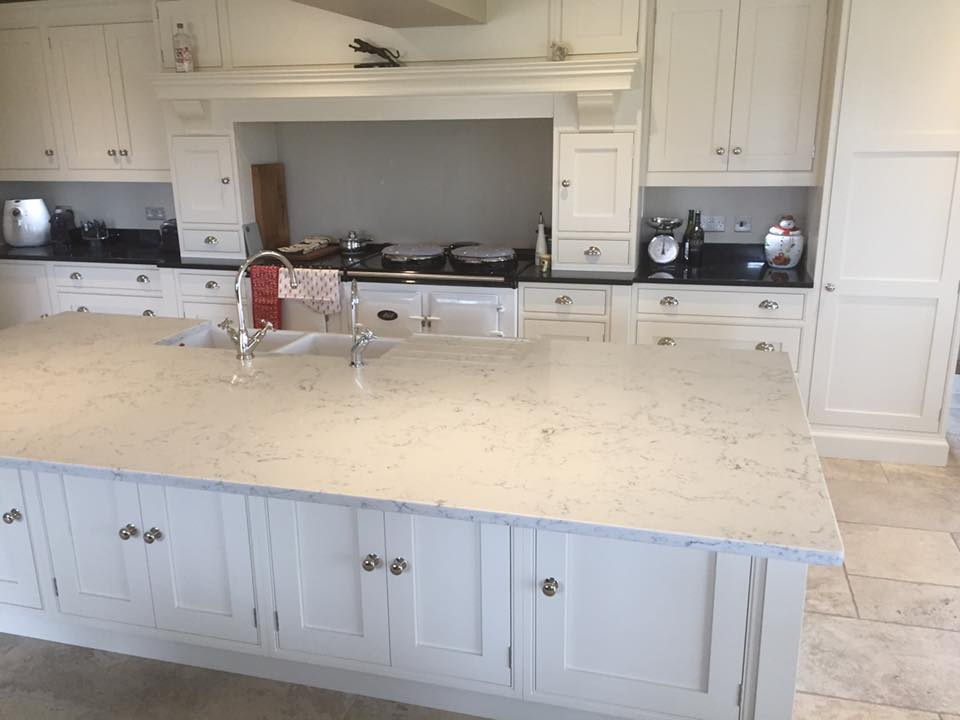 Ebony and Ivory traditional kitchen Angelo White quartz and star galaxy