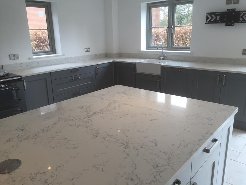 Quartz Worktops : Quartz angelo white worktop island in Middlewich Cheshire