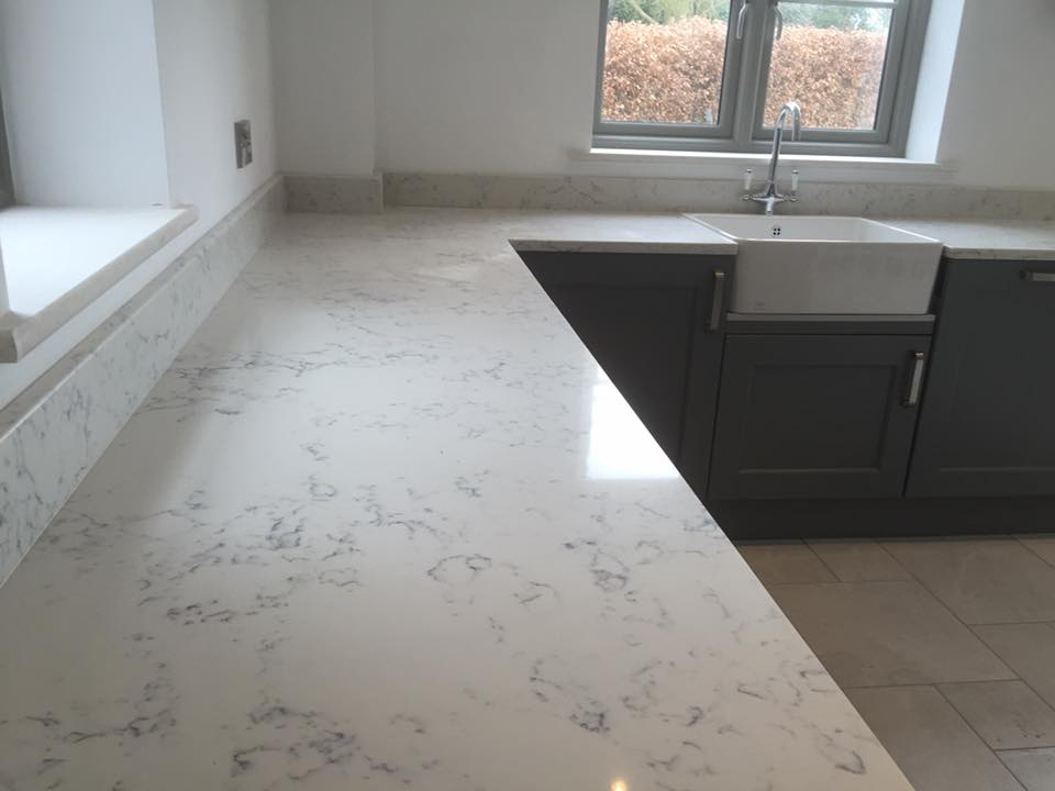 Quartz Worktops : Quartz angelo white worktops and dark units in Middlewich