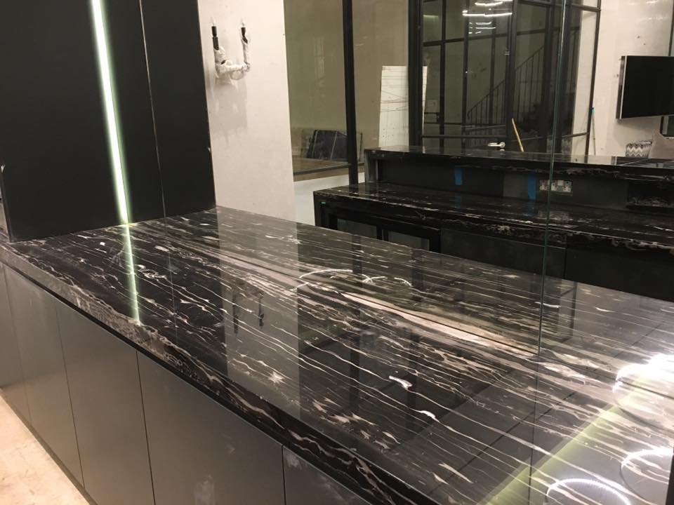 black and white galley kitchen bar two