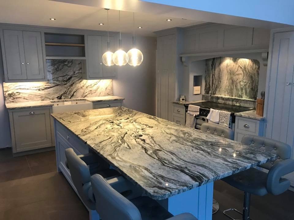 Cosmic White granite worktops fitted recently in Cheshire