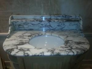 white marble sink unit
