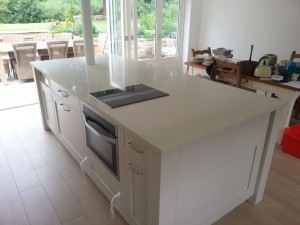 cream quartz modern kitchen island