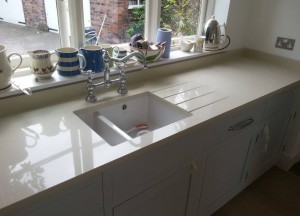 cream quartz kitchen sink unit