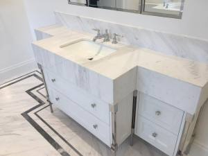 white marble sink unit